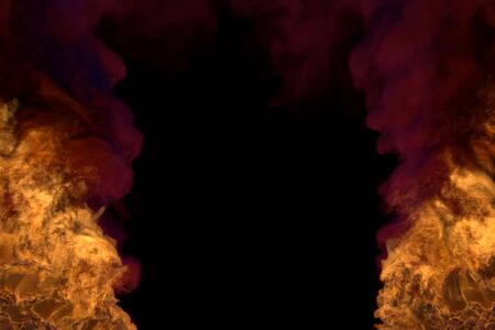 magic burning lava on black, frame with dark smoke - fire from image left and right corners - fire 3D illustration