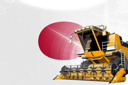 Digital industrial 3D illustration of yellow advanced farm combine harvester on Japan flag - agriculture equipment innovation concept