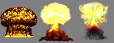 3 big high detailed different phases mushroom cloud explosion of super bomb with smoke and fire isolated on grey - 3D illustration of explosion