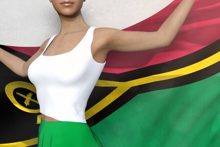 cute woman in bright skirt is holding Vanuatu flag in her hands behind her on the white background - flag concept 3d illustration Stock Photo