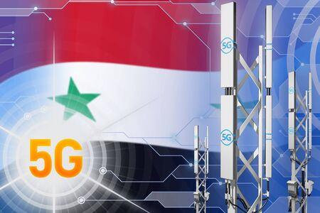 Syrian Arab Republic 5G network industrial illustration, large cellular tower or mast on hi-tech background with the flag - 3D Illustration