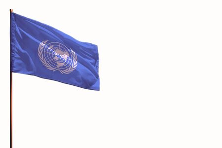 Fluttering United Nations flag isolated, mockup with the place for your text on white background.