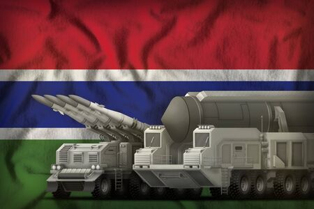 rocket forces on the Gambia flag background. Gambia rocket forces concept. 3d Illustration Imagens