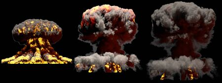 3 big different phases fire mushroom cloud explosion of thermonuclear bomb with smoke and flames isolated on black background - 3D illustration of explosion
