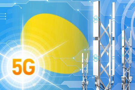 Palau 5G network industrial illustration, big cellular tower or mast on modern background with the flag - 3D Illustration Stockfoto - 128526411