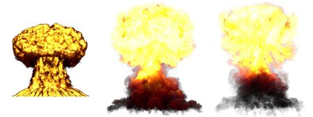 3 huge very highly detailed different phases mushroom cloud explosion of hydrogen bomb with smoke and fire isolated on white - 3D illustration of explosion Imagens
