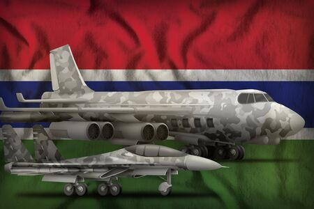 air forces with grey camouflage on the Gambia flag background. Gambia air forces concept. 3d Illustration