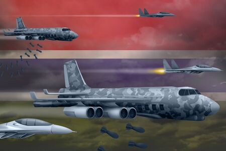 Gambia bomb air strike concept. Modern Gambia war airplanes bombing on flag background. 3d Illustration