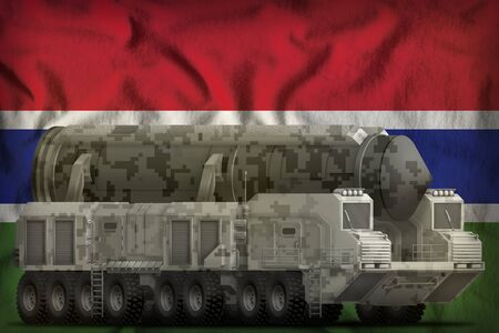 intercontinental ballistic missile with city camouflage on the Gambia flag background. 3d Illustration Imagens