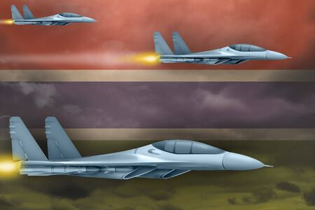 Gambia air strike concept. Modern war airplanes attack on Gambia flag background. 3d Illustration Imagens