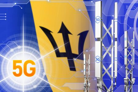 Barbados 5G network industrial illustration, huge cellular tower or mast on modern background with the flag - 3D Illustration Stockfoto - 128528632