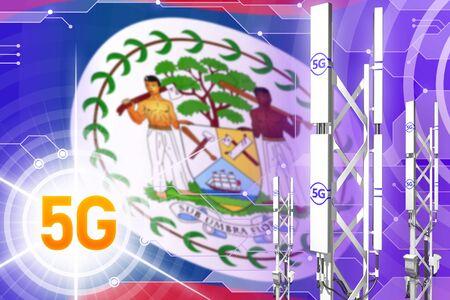 Belize 5G network industrial illustration, big cellular tower or mast on modern background with the flag - 3D Illustration
