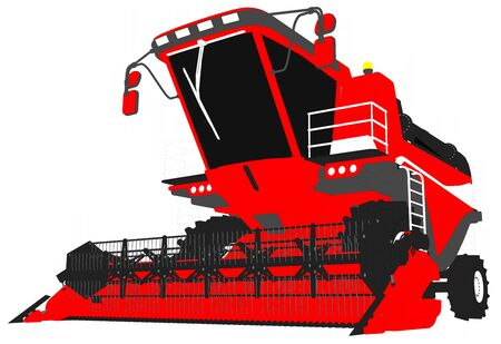 industrial 3D illustration of cartoon colored 3D model of large red grain combine harvester on white, clip art for food industry images