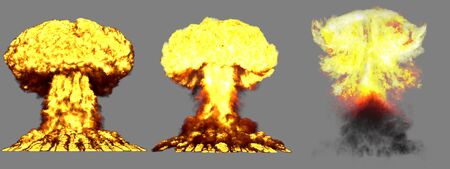3 big high detailed different phases mushroom cloud explosion of atom bomb with smoke and fire isolated on grey - 3D illustration of explosion