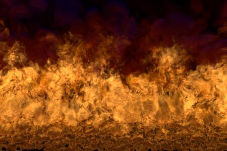 flaming lava on black background, flaming frame with dense smoke - fire from image corners - fire 3D illustration