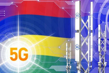 Mauritius 5G network industrial illustration, big cellular tower or mast on digital background with the flag - 3D Illustration Imagens