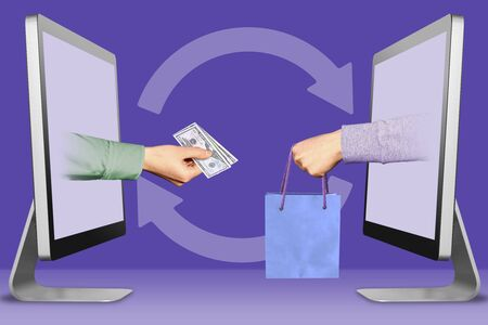 online concept, hands from displays. hand with cash money and hand with shopping bag . 3d illustration