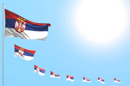 pretty labor day flag 3d illustration  - many Serbia flags placed diagonal with soft focus and free place for your content