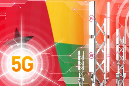 Guinea-Bissau 5G network industrial illustration, large cellular tower or mast on modern background with the flag - 3D Illustration
