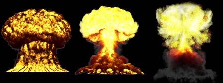 3 big very high detailed different phases mushroom cloud explosion of atom bomb with smoke and fire isolated on black - 3D illustration of explosion