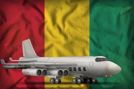 bomber on the Guinea flag background. 3d Illustration