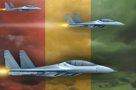 Guinea air strike concept. Modern war airplanes attack on Guinea flag background. 3d Illustration Imagens
