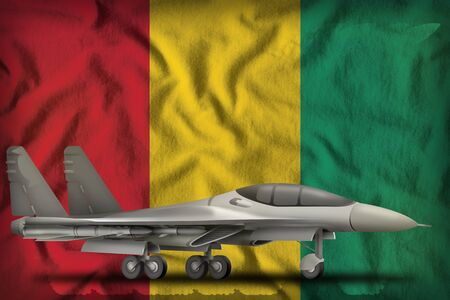 fighter, interceptor on the Guinea flag background. 3d Illustration Imagens