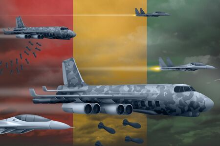 Guinea bomb air strike concept. Modern Guinea war airplanes bombing on flag background. 3d Illustration