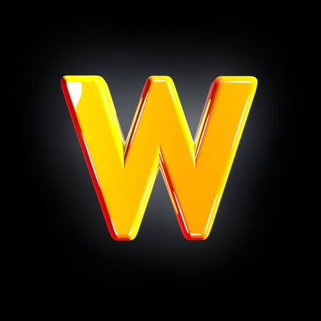 letter W of festive orange glossy font isolated on solid black background - 3D illustration of symbols