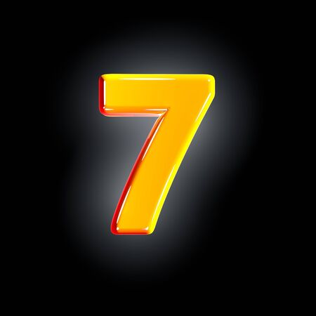 Bright polished yellow font - number 7 isolated on black background, 3D illustration of symbols
