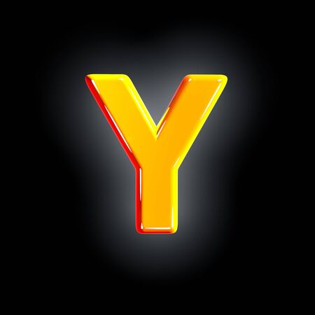 letter Y of festive orange shining alphabet isolated on solid black background - 3D illustration of symbols