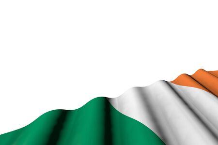 wonderful labor day flag 3d illustration  - shiny flag of Ireland with big folds lie in right bottom corner isolated on white 版權商用圖片