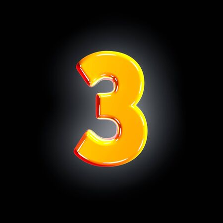 number 3 of festive orange shining font isolated on solid black background - 3D illustration of symbols 写真素材