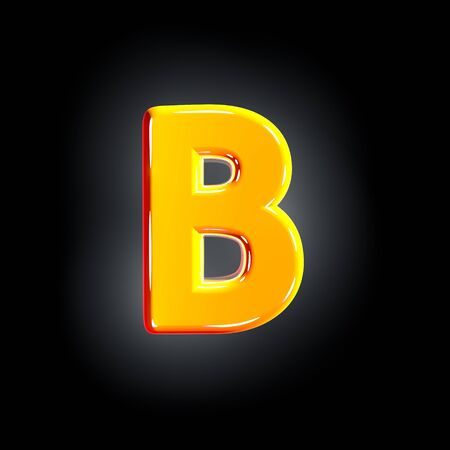 letter B of festive orange shine font isolated on solid black background - 3D illustration of symbols