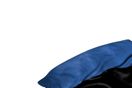 cute any occasion flag 3d illustration  - Estonia flag with large folds lie in bottom right corner isolated on white