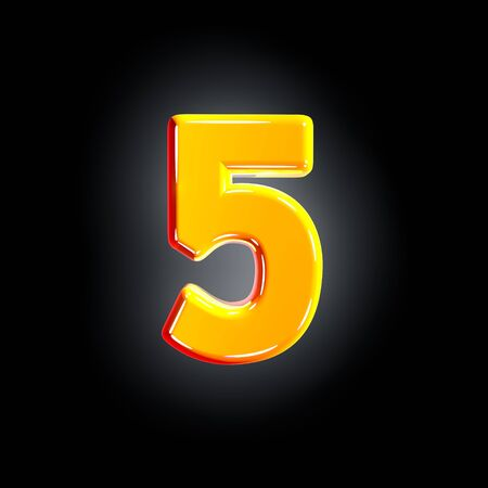 Bright polished yellow alphabet - number 5 isolated on black background, 3D illustration of symbols 写真素材
