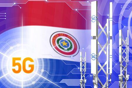 Paraguay 5G network industrial illustration, huge cellular tower or mast on hi-tech background with the flag - 3D Illustration