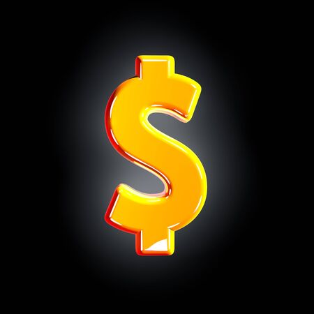 dollar - peso sign of festive orange glossy font isolated on solid black background - 3D illustration of symbols
