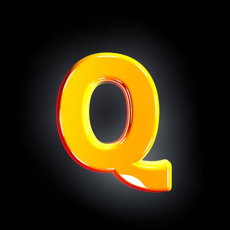 Bright polished yellow font - letter Q isolated on black background, 3D illustration of symbols