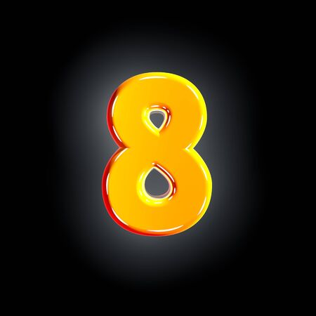 Bright glossy yellow font - number 8 isolated on black background, 3D illustration of symbols Imagens