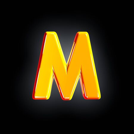 Bright shine yellow alphabet - letter M isolated on black background, 3D illustration of symbols