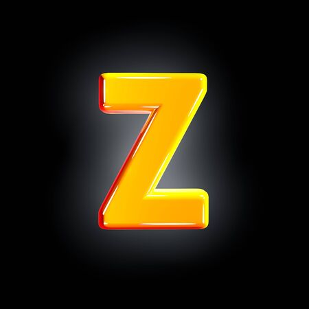 letter Z of festive orange shine alphabet isolated on solid black background - 3D illustration of symbols