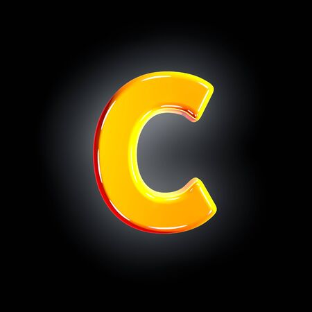 Bright shine yellow font - letter C isolated on black background, 3D illustration of symbols Zdjęcie Seryjne