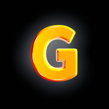 Bright polished yellow font - letter G isolated on black background, 3D illustration of symbols