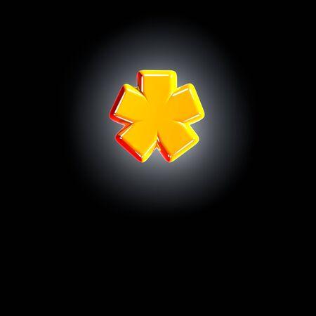 Bright shine yellow alphabet - asterisk isolated on black background, 3D illustration of symbols 版權商用圖片
