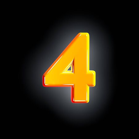 Bright shine yellow alphabet - number 4 isolated on black background, 3D illustration of symbols