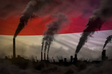 dense smoke of industry chimneys on Indonesia flag - global warming concept, background with space for your content - industrial 3D illustration