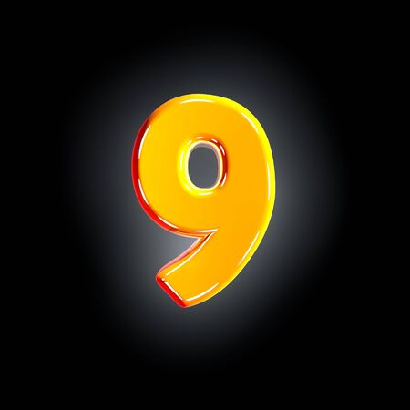 number 9 of festive orange polished font isolated on solid black background - 3D illustration of symbols