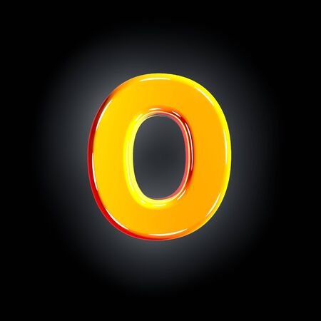 Bright shining yellow alphabet - letter O isolated on black background, 3D illustration of symbols 写真素材