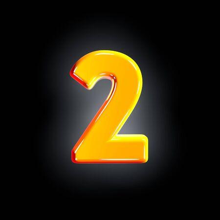 number 2 of festive orange glossy alphabet isolated on solid black background - 3D illustration of symbols